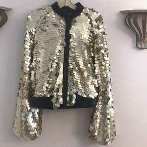 TOV Holy Gold Sequin Jacket, New, Size L